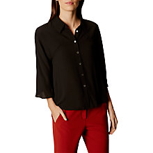 Buy Karen Millen Boxy Soft Shirt, Black Online at johnlewis.com