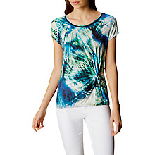 Buy Karen Millen Graphic Palm T-Shirt, Blue/Multi Online at johnlewis.com