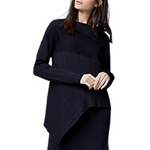 Buy Warehouse Ribbed Asymmetric Jumper, Navy Online at johnlewis.com