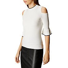 Buy Karen Millen Ruffle Sleeve Jumper, White/Multi Online at johnlewis.com