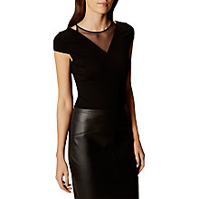 Buy Karen Millen Fine Mesh Insert Top, Black Online at johnlewis.com