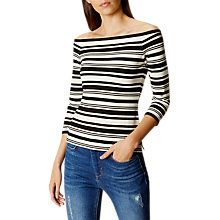 Buy Karen Millen Bardot Shoulder Stripe Top, Black/Ivory Online at johnlewis.com
