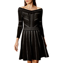Buy Karen Millen Lace Knit A-Line Dress,  Black/Multi Online at johnlewis.com