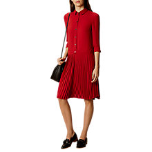 Buy Karen Millen Drop Waist Shirt Dress, Dark Red Online at johnlewis.com