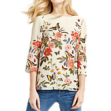 Buy Oasis Amelia Placement Sleeved Top, Off White Online at johnlewis.com