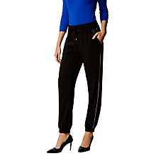Buy Karen Millen Contrast Piping Tailored Joggers, Black Online at johnlewis.com