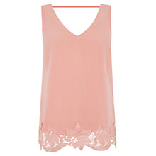 Buy Oasis V Front and V Back Lace Vest, Pink Online at johnlewis.com