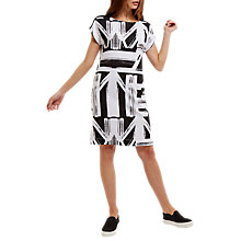 Buy Jaeger Graphic Print Jersey Dress, Black/White Online at johnlewis.com