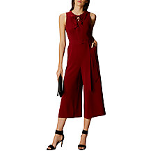 Buy Karen Millen Cropped Lace Up Jumpsuit, Burgundy Online at johnlewis.com