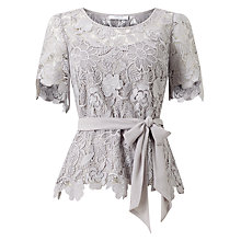 Buy Jacques Vert Flower Lace Top, Mid Grey Online at johnlewis.com