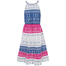 Buy Fat Face Girls' Edith Mixed Print Dress, Light Navy Online at johnlewis.com
