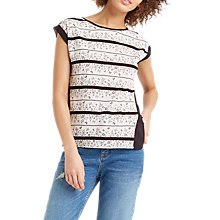 Buy Oasis Floral Wiggle Lace Stripe T-Shirt, Mid Grey Online at johnlewis.com