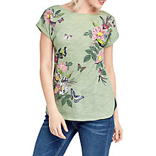 Buy Oasis Lucy All Over Floral Placement T-Shirt, Khaki Online at johnlewis.com