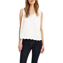 Buy Phase Eight Darcie Scallop Linen Top, White Online at johnlewis.com