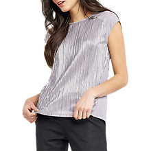 Buy Oasis Crinkle Peplum Back Top, Mid Grey Online at johnlewis.com