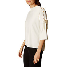 Buy Karen Millen Lace Up Shoulder Top, Ivory Online at johnlewis.com