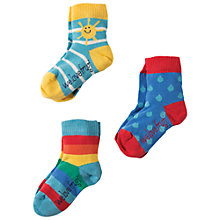 Buy Frugi Organic Baby Little Sunshine Socks, Pack of 3, Blue/Multi Online at johnlewis.com