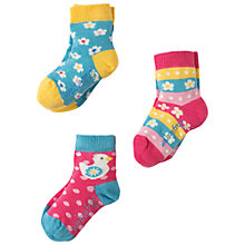 Buy Frugi Organic Baby Little Flower Socks, Pack of 3, Pink/Multi Online at johnlewis.com
