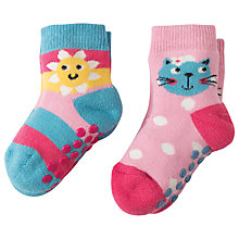Buy Frugi Organic Baby Kitty Grippy Socks, Pack of 2, Multi Online at johnlewis.com