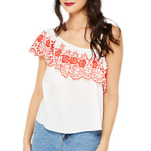 Buy Miss Selfridge One Shoulder Cut Work Top, Multi Online at johnlewis.com