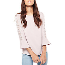 Buy Miss Selfridge Lace T-Shirt, Lilac Online at johnlewis.com