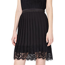 Buy Miss Selfridge Pleat Lace Hem Skirt, Black Online at johnlewis.com