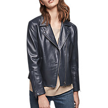 Buy Gerard Darel Leather Valentin Jacket, Midnight Blue Online at johnlewis.com