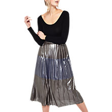Buy Miss Selfridge Metallic Stripe Midi Skirt, Silver Online at johnlewis.com