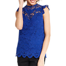 Buy Oasis Lace Trim High Neck Top, Blue Online at johnlewis.com