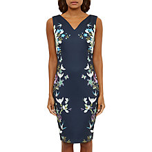 Buy Ted Baker Spring Meadow V-Neck Midi Dress, Dark Blue Online at johnlewis.com