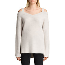 Buy AllSaints Dasha Wool Cashmere Blend Cold Shoulder V-Neck Jumper Online at johnlewis.com