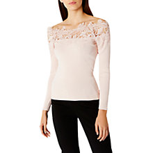 Buy Coast Lilith Lace Bardot Knit Top, Blush Online at johnlewis.com