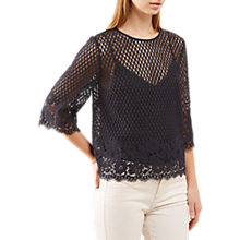 Buy Jigsaw Engineered Floral Lace Top, Dark Navy Online at johnlewis.com