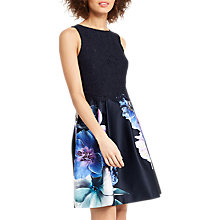 Buy Oasis Photo Floral Lace Skater Dress, Blue/Multi Online at johnlewis.com