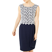 Buy Jacques Vert Petite Lace Waterfall Dress, Navy/Multi Online at johnlewis.com
