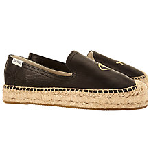 Buy Soludos Jason Polan Wink Flatform Espadrilles, Black/Gold Online at johnlewis.com