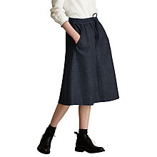 Buy Toast Gathered Waist Tie Denim Skirt, Indigo Online at johnlewis.com