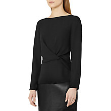 Buy Reiss Millie Knotted Long Sleeve Top, Black Online at johnlewis.com