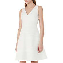 Buy Reiss Daisy Texture Fit And Flare Dress, Off White Online at johnlewis.com