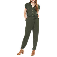 Buy Oasis Cupro Utility Jumpsuit, Khaki Online at johnlewis.com