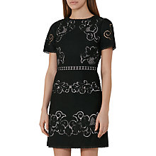 Buy Reiss Tinley Lace Panel Dress, Black/Nude Online at johnlewis.com