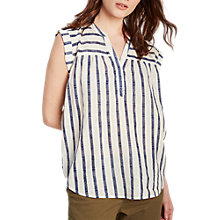 Buy White Stuff Coastline Stripe Cotton Vest, Cream/Blue Online at johnlewis.com