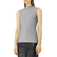 Buy Reiss Aries High Neck Top, Silver Online at johnlewis.com