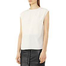 Buy Reiss Una Silk Trim Detail Top, Off White Online at johnlewis.com