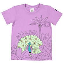 Buy Polarn O. Pyret Girls' Peacock Print T-Shirt, Purple Online at johnlewis.com