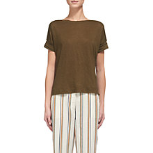 Buy Whistles Boat Neck Linen T-Shirt, Khaki Online at johnlewis.com