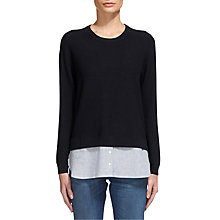 Buy Whistles Linen Striped Hem Jumper, Navy Online at johnlewis.com