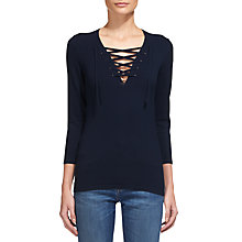 Buy Whistles Lace Front Jumper, Navy Online at johnlewis.com
