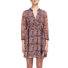 Buy Whistles Aubrey Woodcut Tassel Dress, Orange/Navy Online at johnlewis.com