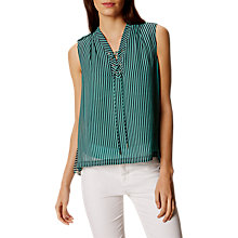 Buy Karen Millen Pleated Lace Up Stripe Top, Multi/Green Online at johnlewis.com